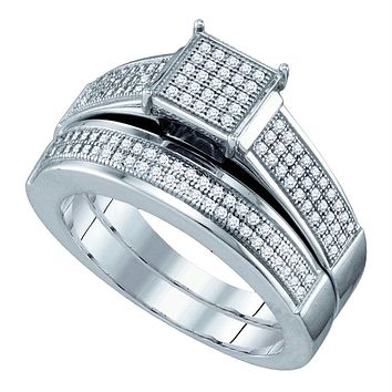 Sterling Silver Womens Diamond Square Cluster Bridal Wedding Engagement Ring Band Set 3-8 Cttw