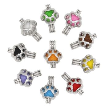 10pcs Dog Bear Paws Pearl Cages Perfume Essential Oil Diffuser Locket Charm Pendant Craft Jewelry Making Necklace Bracelet DIY