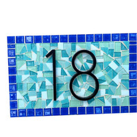Aqua and Blue Address Sign - Mosaic House Number Sign - Outdoor Plaque - Housewarming Gift - Garden Decor