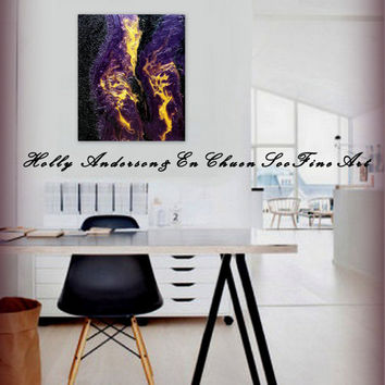 Purple, Gold & Black Original Large Heavily Textured Original Fluid Acrylic Contemporary Abstract Painting