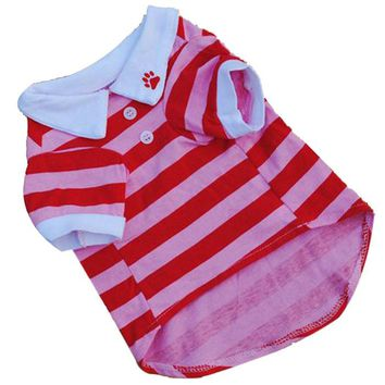 Super Cute Pink and Red Striped Shirt Cat Costume