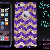 "iPhone 6 Case - OtterBox Commuter Series - Retail Packaging - 4.7"" iPhone 6 Glitter Gold Chevron Purple/Black"