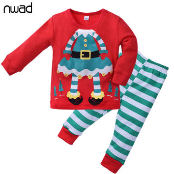 Christmas Kids Cotton Long Sleeves Clothes Little Girls Boys Clothing Sets Children Suits Pyjamas For Baby Girls Homewear CF333