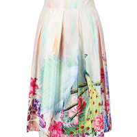 White Peacock Print Pleated Midi Skirt