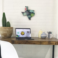 Wall Clock Texas State Succulent Cactus Print Custom Wall Clock Unique Trendy Dorm Room
