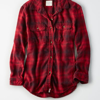 AE Oversized Flannel Shirt, Red
