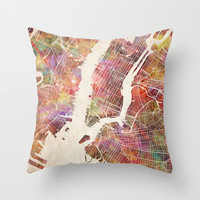 New York Throw Pillow by MapMapMaps.Watercolors