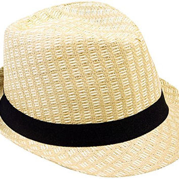 Simplicity Summer Fedora Straw Hat , Double Color Patterned , SM