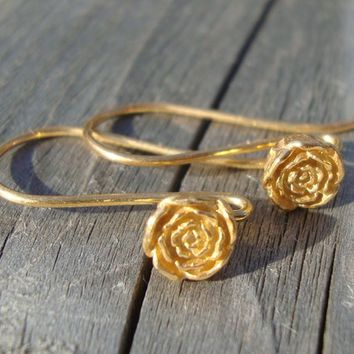 4 pairs, 26x5.5 mm, Bali Artisan, 24k Vermeil Sterling Silver, Vintage Victorian Look Rose Blossom Floral Earwires - EW-0012