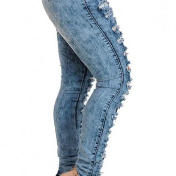 Stretch Bodycon Hollow Out Boyfriend Ripped Jeans