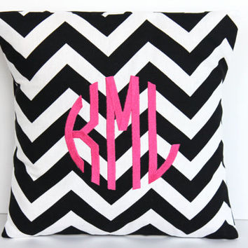 Monogrammed Pillow - Personalized Home Decor - Initial Monogram - 12 x 16 Personalized Gift Baby Wedding Dorm Decor