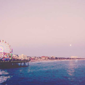 Santa Monica, strawberry moon, beach, summer, beach photography, seaside, ocean, beach decor, nursery art, California, Los Angeles