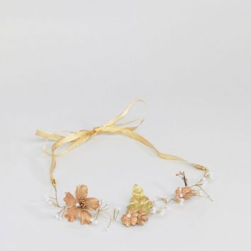 ASOS Occasion Gold Leaf and Crystal Bead Hair Crown at asos.com