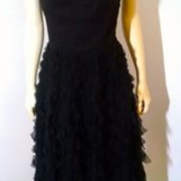 White House Black Market Cocktail Dress Size 6 Silk Black Inv0001