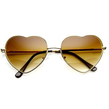 Fashion Thin Metal Cute Heart Shaped Sunglasses 8965
