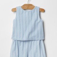Dobby Stripe Denim Romper