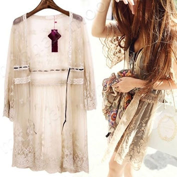 2014 New Fashion Retro Women Summer Lace Sleeve Sheer Floral Butterfly  Crochet T-Shirt Top Blouse Cardigan (Size: M, Color: Apricot) = 1931681156