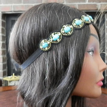 SALE: Turquoise Beaded headband Boho headbands Jewel beaded head piece Stone Applique headband for women