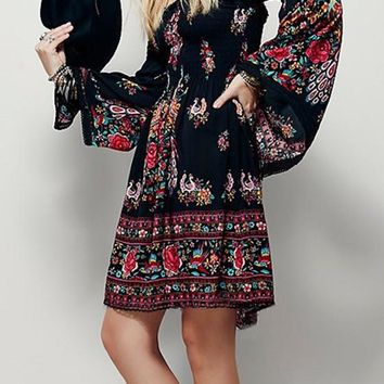 Black Floral Print Boat Neck Bell Sleeve Above Knee Casual Dress