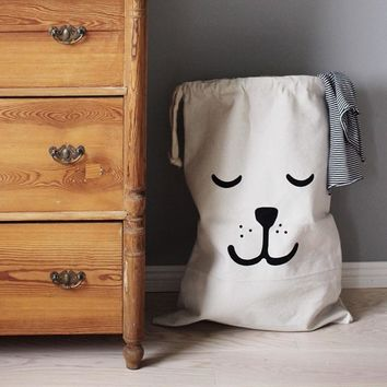 Cartoon Kids Toy Storage Bag Cotton Linen Shopping Bags Children Room Organizer Drawstring Folding Baby Clothes Laundry Bag