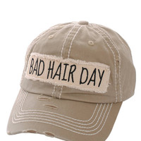 Bad Hair Day Distressed Baseball Cap Hat Khaki, Embroidered On Torn Denim Decor