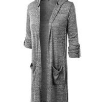 LE3NO Womens Oversized Long Sleeve Open Maxi Cardigan with Hoodie (CLEARANCE)