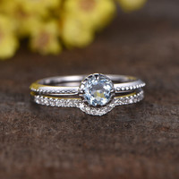 0.5 Carat Round Aquamarine Solitaire Wedding Set Diamond Bridal Ring 14k White Gold Curved Half Eternity Matching Band