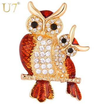U7 Owl Brooches Women Costume Jewelry Party Bridesmaid Gift for Her Beautiful Cute Rhinestone Brooch Lapel Pin 2017 New B128