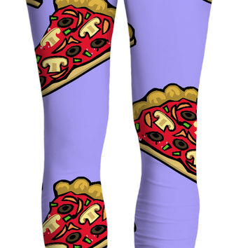 Pizza at pastel purple all-over-print yoga pants, yummy capri leggings