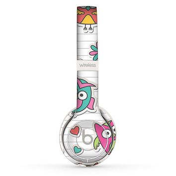 The Colored Cartoon Owl Cutouts on Paper Skin Set for the Beats by Dre Solo 2 Wireless Headphones