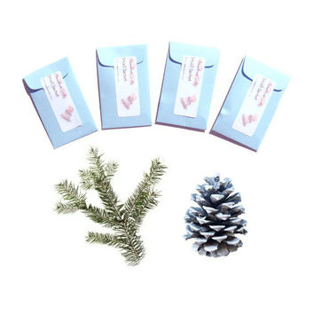 4 Winter Wonderland Scented Mini Sachets - Rustic Woodland Wedding Favors - Sugared Spruce Scent - Blue Green - Pine