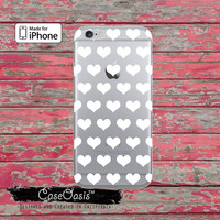 White Hearts Pattern Love Cute Tumblr Inspired Clear Rubber Phone Case For iPhone 6 and iPhone 6 Plus + Transparent Crystal Custom Case