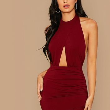 Peekaboo Front Wrap Ruched Detail Halter Backless Dress