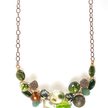 Green Crystal & Stone Necklace / Chunky Beaded Bib / Statement Necklace / Long Copper Chain / Crochet Jewelry