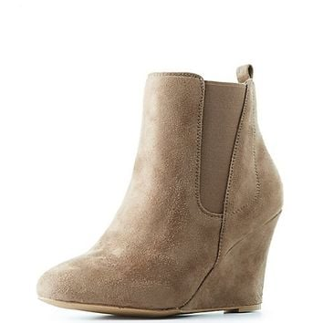 Side Gore Wedge Ankle Booties | Charlotte Russe