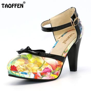 TAOFFEN Plus Size 32-48 Women High Heel Shoes Round Toe Heels Sandals Women's Print Platform Sandals Black bow Party Footwears