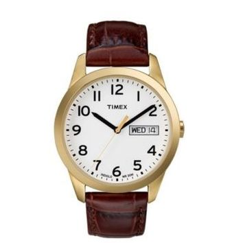 Timex~T2N065~Gold Tone~Brown Croc Leather~Easy Reader~Indiglo~Mens Classic Watch