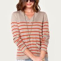 Prep In Your Step Orange and Taupe Striped Sweater