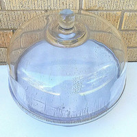 Upcycled and Revamped Wooden Large shabby chic platter with glass cloche dome