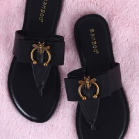Bamboo Bow And Bee Ornament T-Strap Thong Flat Sandal