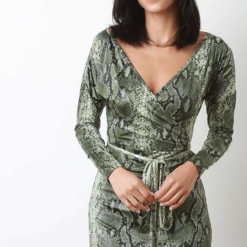 Snakeskin V-Neck Long Sleeves Slit Mini Dress