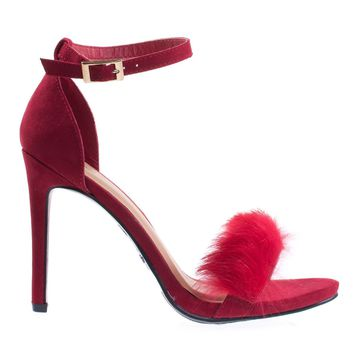 Truelove39M Dk-Red By Anne Michelle Fluffy Faux Feathery Fur High Heel Sandal