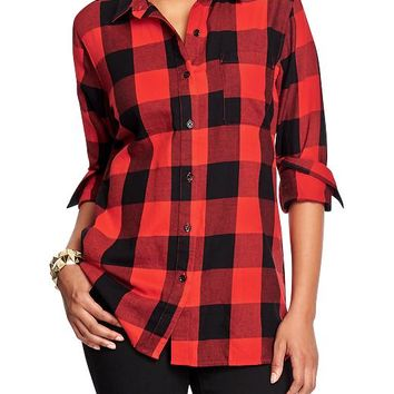 Old Navy Womens Plaid Flannel Boyfriend Shirts Size XXL Tall - Red buffalo plaid