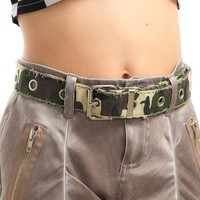 Vintage Y2K Camo Grommet Belt - One Size Fits Many