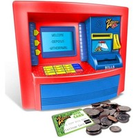 Kids Educational Learning Developmental Counting ATM Machine Real Money Savings Bank w ATM Card