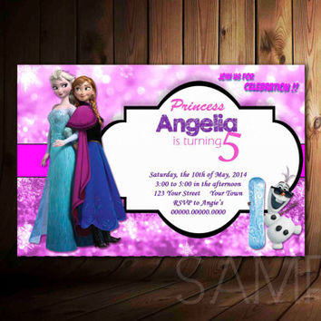 0045 Disney Frozen Invitation Design For Birthday Invitation