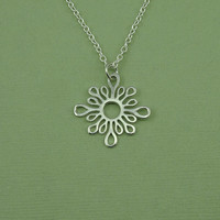 Art Deco Necklace - sterling silver sun necklace, abstract necklace, best friend gift