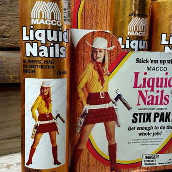 Liquid Nails adhesive with pinup cowgirl advertising