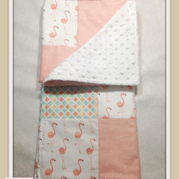 Baby Girl Coral Mint and Gold Blanket  , Baby Girl Quilt, Nursery Blanket , Coral Flamingo Blanket , Minky Girl Blanket --Special Price--