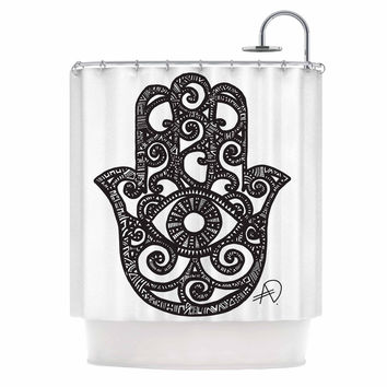 "Adriana De Leon ""Hamsa Hand"" Black White Shower Curtain"